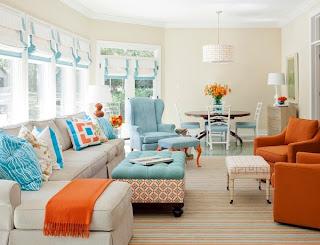 sala color naranja y turquesa