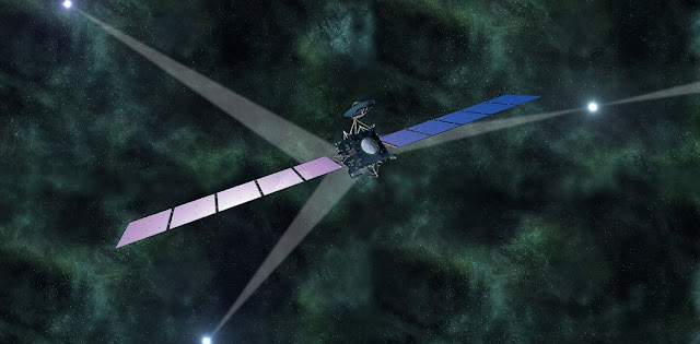 Artist's impression of ESA's Rosetta spacecraft, if it navigated in deep space using pulsar signals. Image Credit: ESA