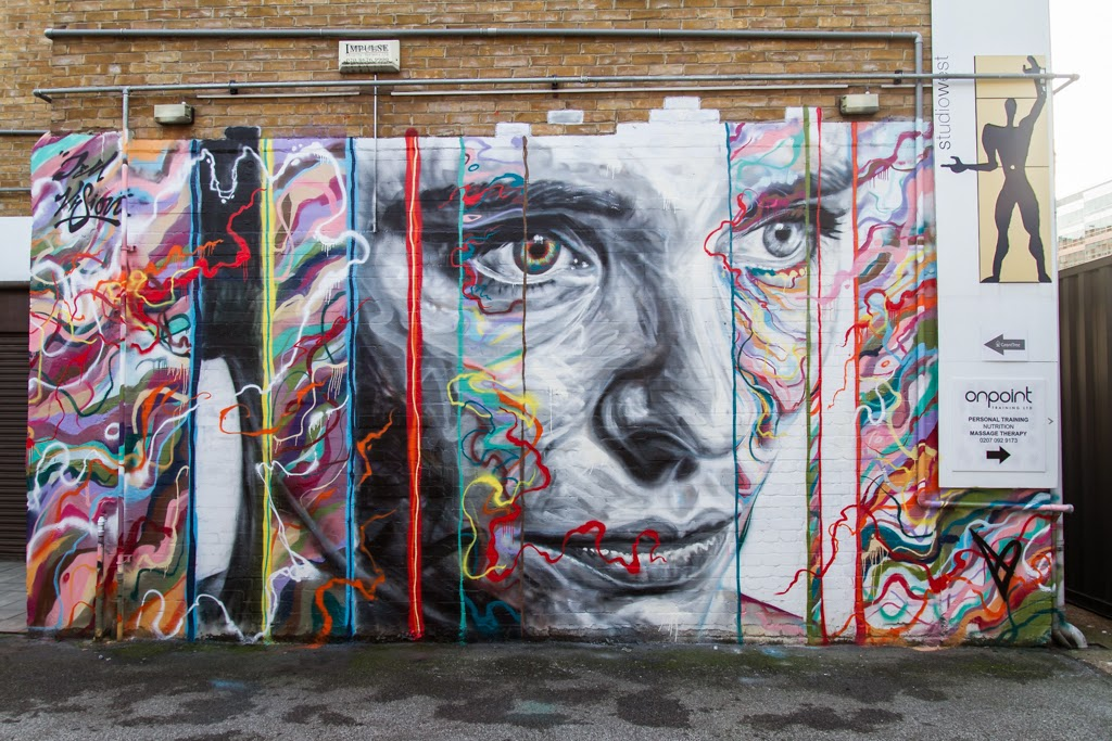 After the successful opening of his solo exhibition in London last week, David Walker hooked up with Jim Vision to work on this new piece in Shoreditch.