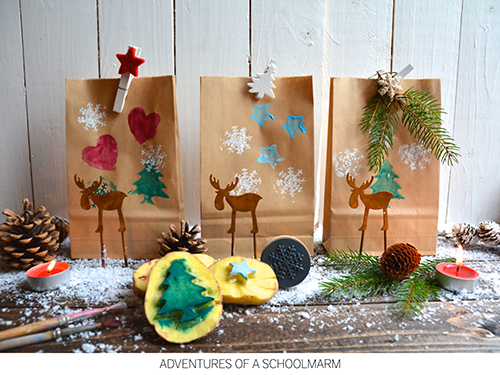 sometimes they decorated the brown paper using potato stamps and paint tape was not invented yet so they held the wrapping paper together with colorful