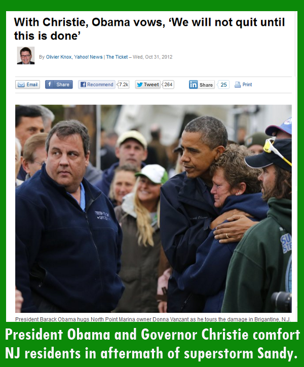 President Obama and Governor Christie comfort New Jersey residents in aftermath of Hurricane Sandy.