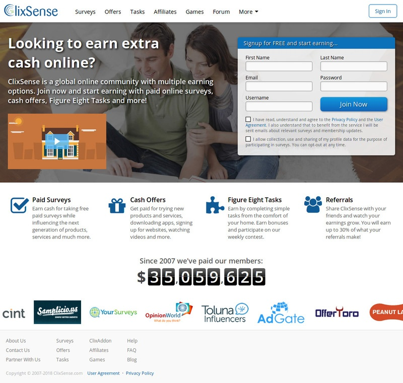 Earn $ 3-5 per day from ClixSense