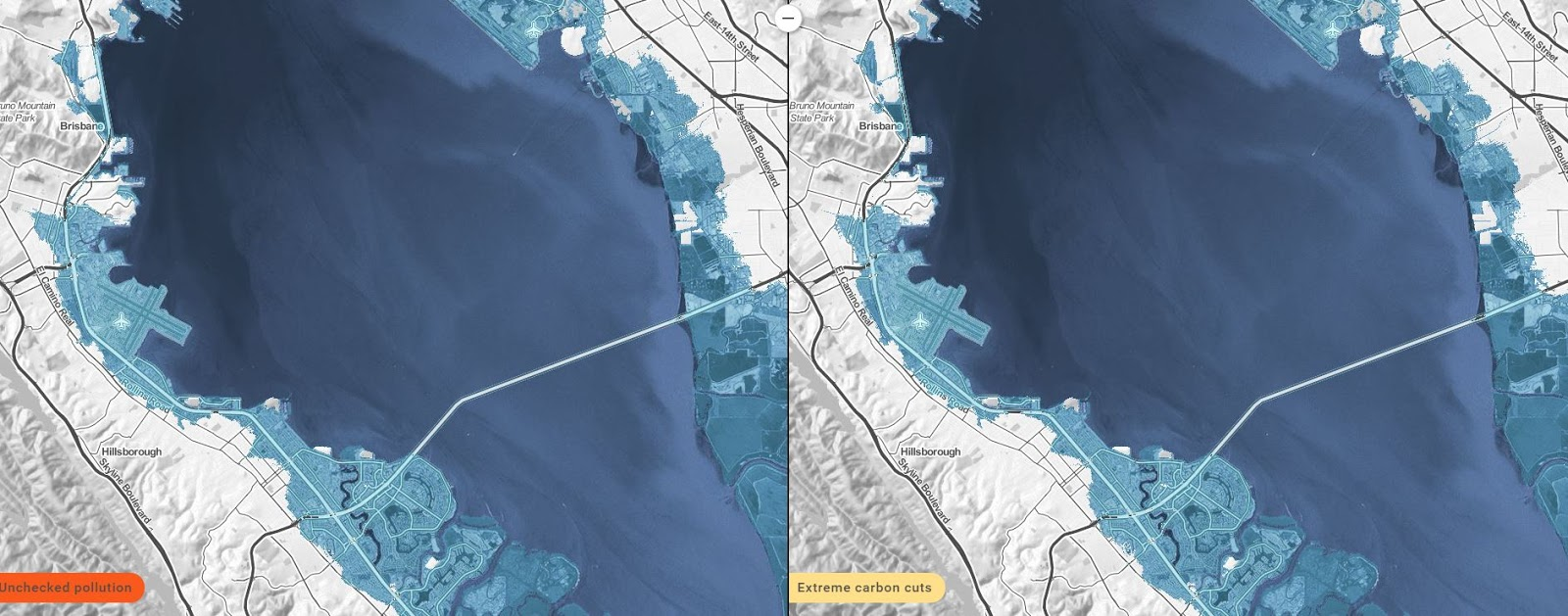 by 2050 highways 101 and 880 are underwater as are sfo and oak