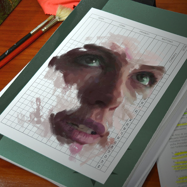 Painting portrait on psychiatric card