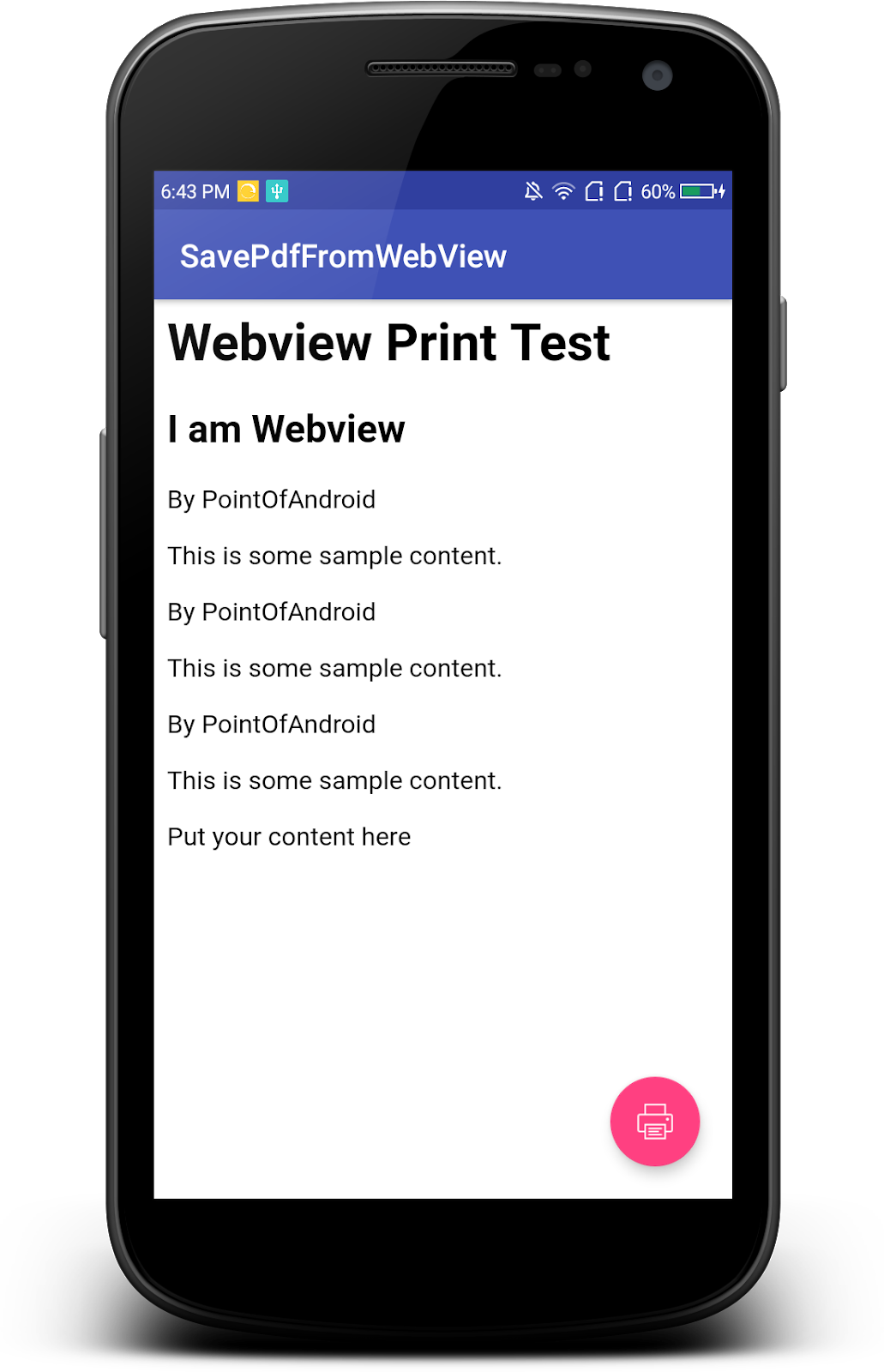 Point of Android: Print/Save PDF from webview