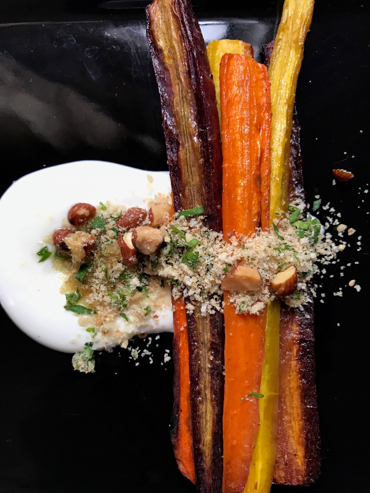 Eating Fabulously, Christopher Stewart, Roasted Rainbow Carrots with Fromage Blanc and Almond Lime Gremolata, rainbow carrots, tricolor carrots, fromage blanc, gremolata