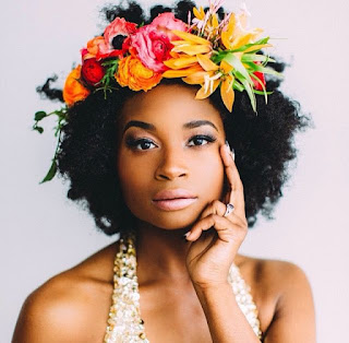 K'Mich Weddings - wedding planning - floral crown - kinky hair with flowers