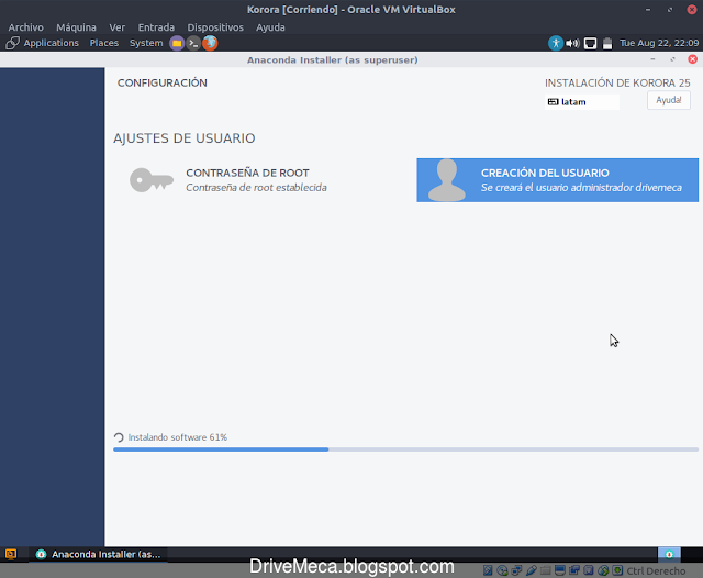 Continua la instalacion de Korora Linux