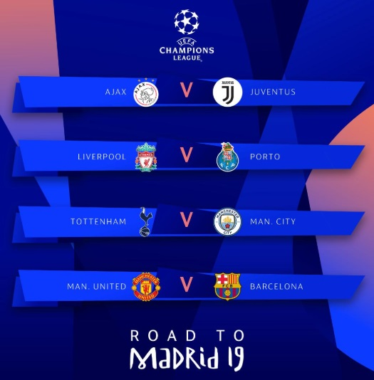 Champions League 4 Matchday Round Season 2018 2019: UEFA Champions League 2018-19 Quarterfinal Schedule