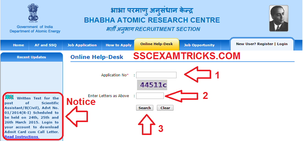 BARC EXAM 2015 CALL LETTERS