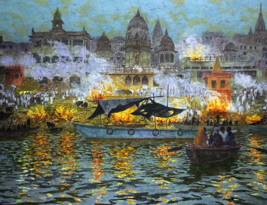 Death in Varanasi, burning ghats at Dusk by Patrick Cullen