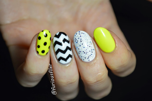 neon dots chevron glitter skittle nail art