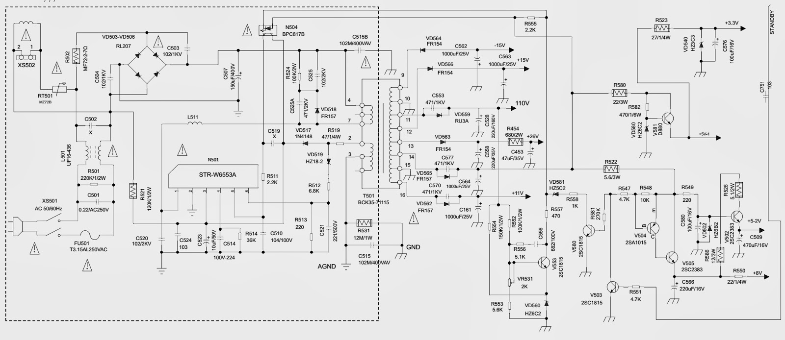 Philco Ph14c Tv Main Power Regulator Section Schematic Diagram Circuit Click On The To Zoom