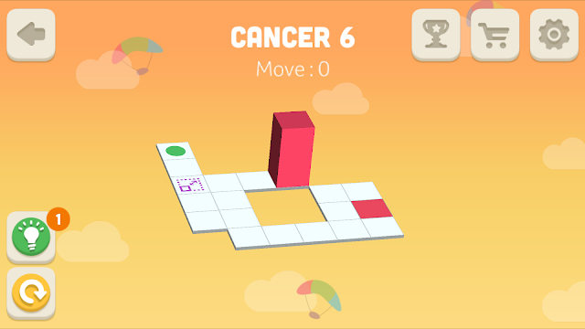 Bloxorz Cancer Level 6 step by step 3 stars Walkthrough, Cheats, Solution for android, iphone, ipad and ipod