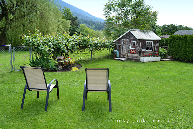 sitting area in the backyard, with lots of green grass and a rustic shed