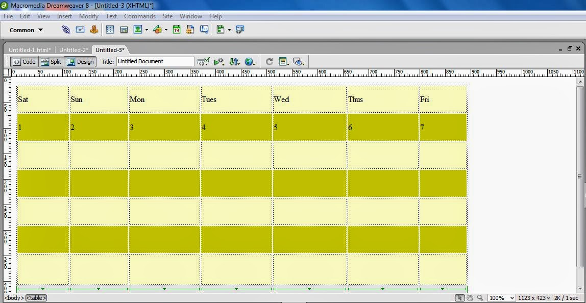 Creating Table in HTML using dreamweaver