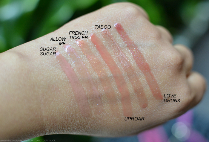 Marc Jacobs Beauty Enamored HiShine Lip Lacquers Lipgloss Swatches Sugar Sugar Allow Me French Tickler Uproar Taboo Love Drunk