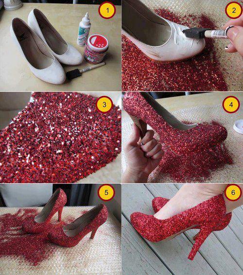 Sapato com glitter vermelho