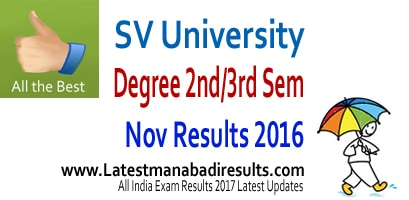 SVU Degree Results 2017, SVU Degree 2nd year Results 2016, www.manabadi.com,