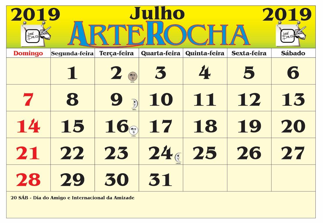 Calendario Mes De Julho 2019