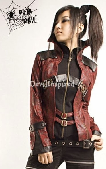 b28fb30a95 Red and Black Gothic Vampire Style Punk Jacket for Women