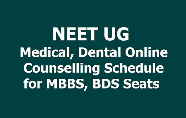 NEET UG 2019 Medical/Dental Online Counselling Schedule for MBBS /BDS Seats