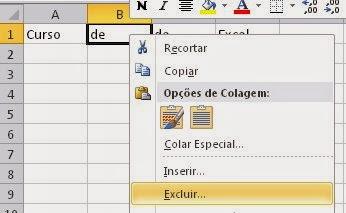 Como apagar uma célula de uma linha do Excel