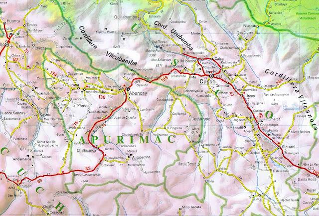 Mapa da região de Cusco