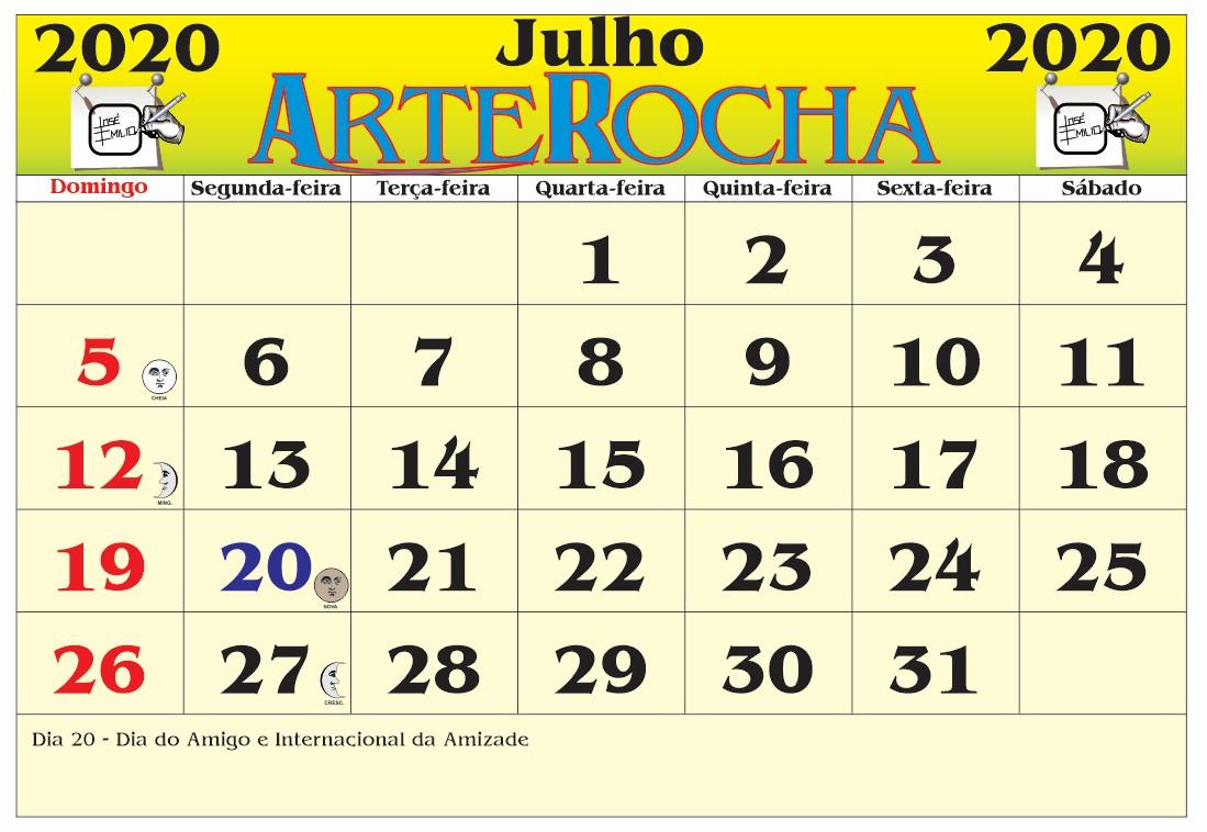 ARTEROCHA: CALENDÁRIO MÊS DE JULHO 2020