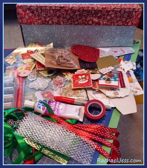 Getting all our materials together to decorate our elf box