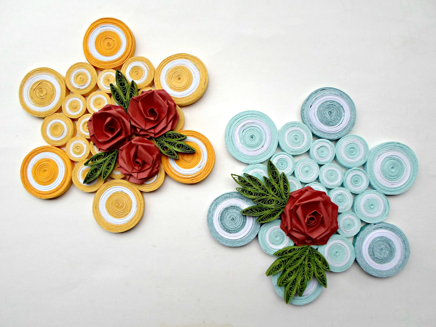 paper quilling rose wall art ~ origami instructions art