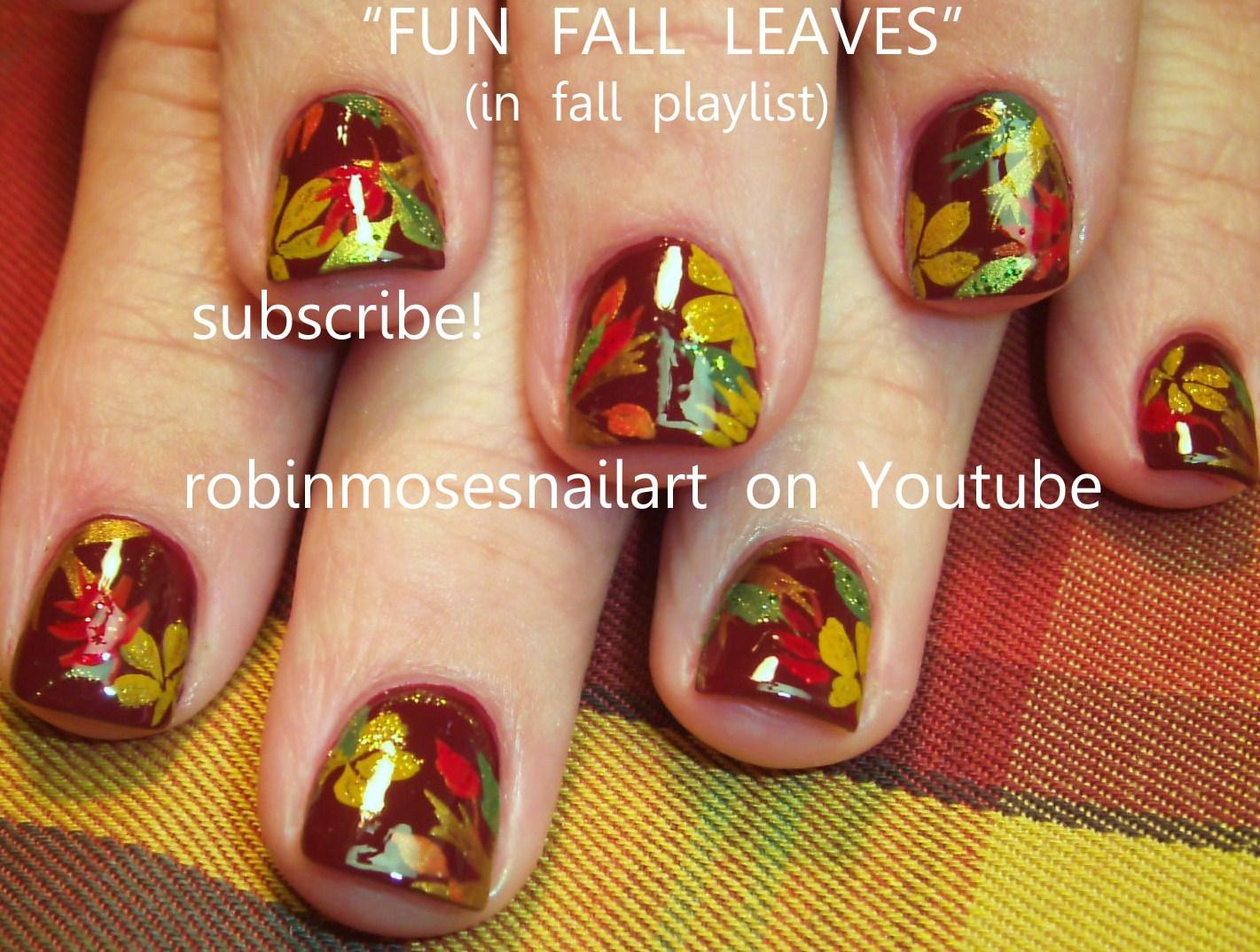 fall nail art, leaves nail art, dark fall filigree nail art, nail ...