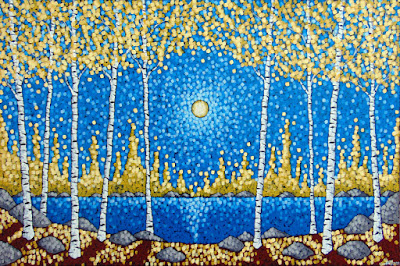 walking through autumn birches painting by artist aaron kloss, lakeside gallery duluth mn, painting of fall birch trees, pointillism