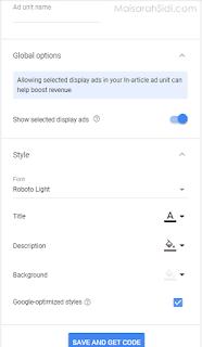 cara pasang iklan in-article dalam entri