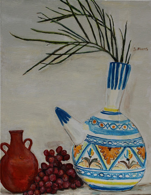 still-life, art, arte, painting, water-pots, ceramics, pintura, natura, morte, grapes, pitcher, pottery, vessel, leaves, fruit, water, acrylic, canvas, large, colours, painted, sarah, myers, artist, palm, palms, fronds, decor, yellow, blue, red, contemporary, modern