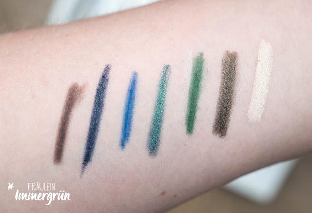 Swatch vegane, farbige Kajals, Naturkosmetik