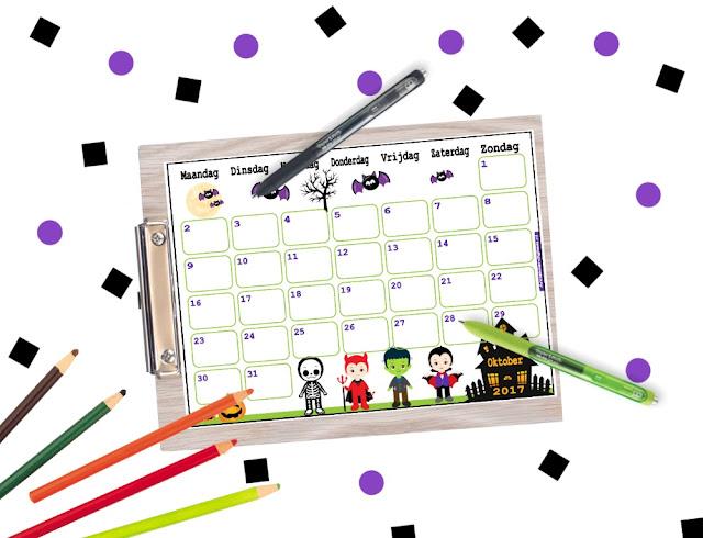 oktober kalender, kalender gratis printen, oktober 2017, kalender in halloween thema, halloween aftelkalender, aftelkalender halloween, kalender voor school, kalender voor kinderen, grappige kalender, kalender om te printen