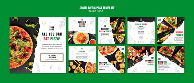 Italian food social media post template Free Psd