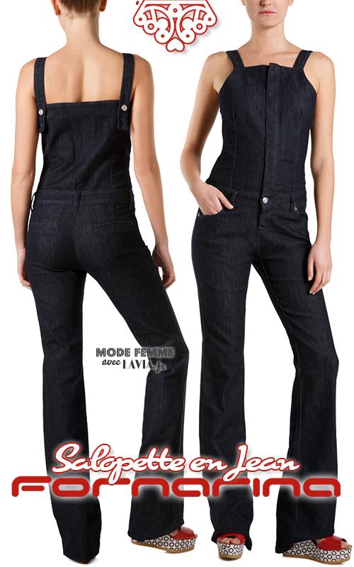 Salopette femme longue en jean bleu FORNARINA