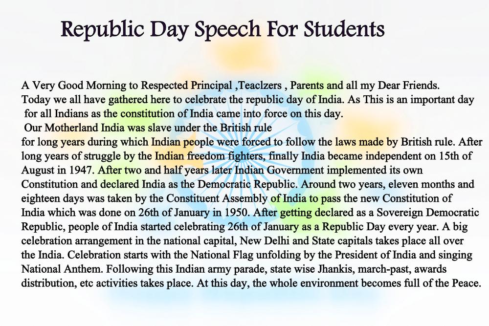 Republic Day 2019 Speech for Students, Kids, Teachers, Principle