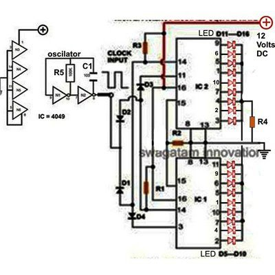 simple 18 LED chaser circuit with IC 4017