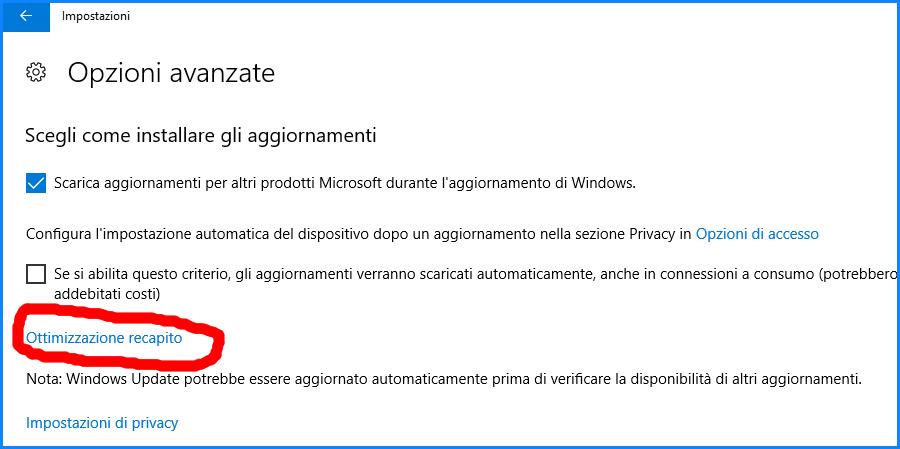 Ottimizzazione-recapito-windows-update