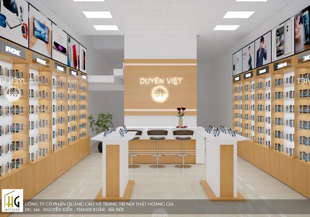 thiết kế cửa hàng điện thoại cách tân