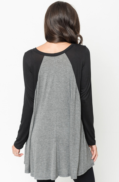 Buy Now Two Tone Baseball Draped Tunic Online $28