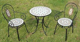 mesa y sillas terraza forja