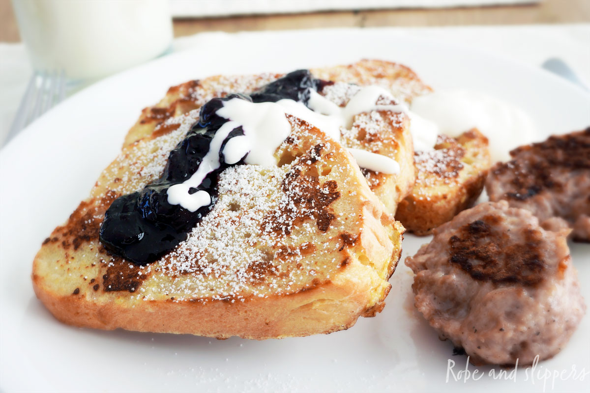 vanilla french toast with blue berry compote and devonshire cream