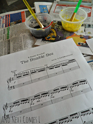 Materials used for the painting to music bumblebee craft from And Next Comes L