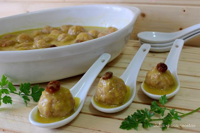 Albóndigas de pollo al curry. Julia y sus recetas