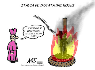 incendi, roghi, a casa loro, migranti, vignetta, satira