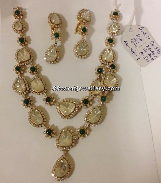 116 Grams Large Flat Diamond Emerald Set